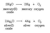 تجزیه حرارتی اکسید های فلزات سنگین برای تولید اکسیژن
