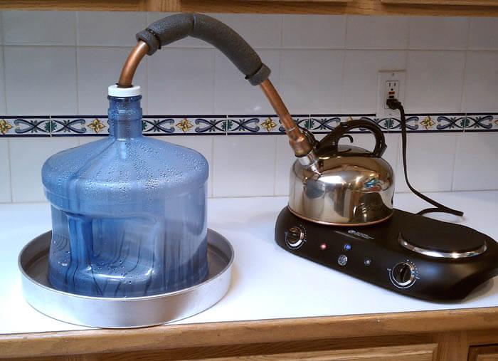 تهیه آب مقطر به روش جمع آوری با ظرف خارجی